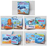 Soft Cloth Books Baby First Book Non-Toxic, Fabric, Colorful, Squeak and Rattle, Crinkle Children Educational Toys, Baby Shower Gifts for Boy and Girl (Ocean)