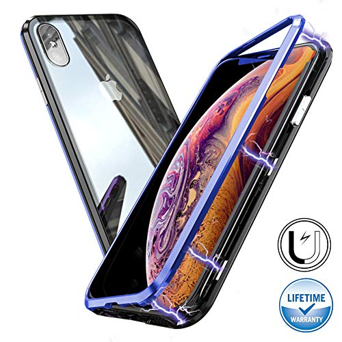 Nick Halloween Bumpers (Magnetic Adsorption Case for iPhone XS MAX , [360 Full Body Protection] [Metal Frame] [Support Wireless Charge] Ultra Thin Clear Hard Tempered Glass Back Cover for iPhone XS MAX 6.5'')