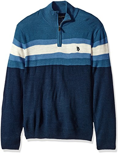 U.S. Polo Assn. Men's Acrylic Chest Stripe 1/4 Zip Sweater, Midnight Heather, Medium by U.S. Polo Assn.