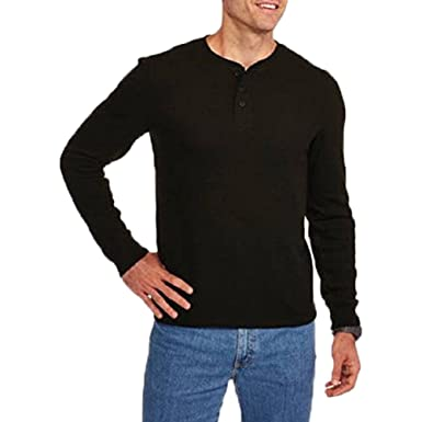 7ab3792128b Faded Glory Men s Long Sleeve Waffle Knit Thermal Henley Top   Shirt (Black  Soot