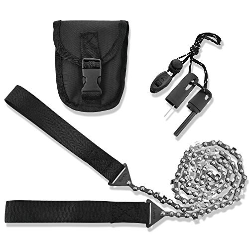 SUMPRI Camping Survival Gear - 36 Inch Pocket Chainsaw and Firestarter Emergency Kit -Magnesium Rod Fire Starter -Handsaw for Wood & Tree Cutting- Hiking, Picnic, Backpack Multitool Camp Saw