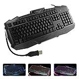 E-More Mechanical Feel USB Wired Gaming Keyboard with Ergonomic Cool LED Backlit Design for Laptop & Desktop (Black-3 colors backlit)