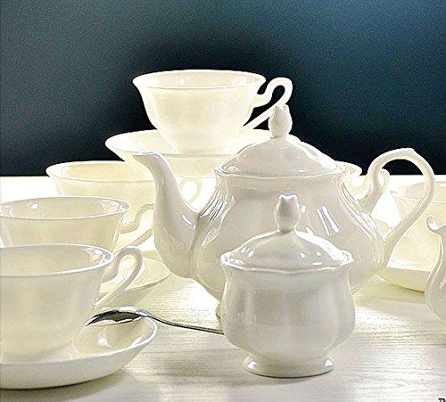 ufengke White Ceramic Bone China 15 Piece Tea Set Tea Service Coffee Set