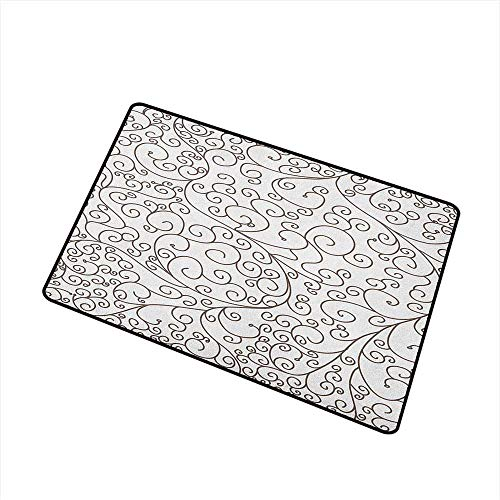 Slice Drawing Tips - Wang Hai Chuan Doodle Front Door mat Carpet Hand Drawing Style Lines with Swirling Tips Abstract and Floral Style Monochrome Machine Washable Door mat W31.5 x L47.2 Inch Brown White