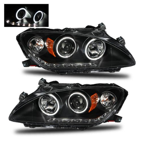 SPPC Projector Headlights Black Assembly Set (CCFL Halo Rings) For Honda S2000 - (Pair) Includes Driver Left and Passenger Right Side Replacement Headlamp
