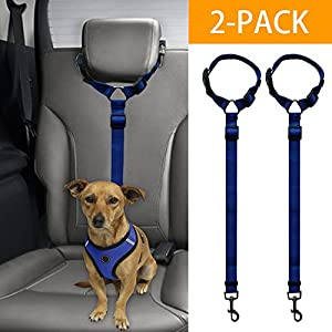 BWOGUE 2 Packs Dog Cat Safety Seat Belt Strap Car Headrest Restraint Adjustable Nylon Fabric Dog Restraints Vehicle Seatbelts Harness 80