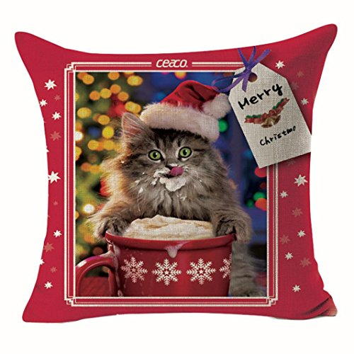 Gotd Merry Christmas Pillow Case Cute Cat Xmas 18 x 18 Cushion Cover Merry Chritmas Home Decor Design Throw Pillow Cover Pillow Case 18 x 18 Inch Cotton Linen for - Protector Case Cat Big