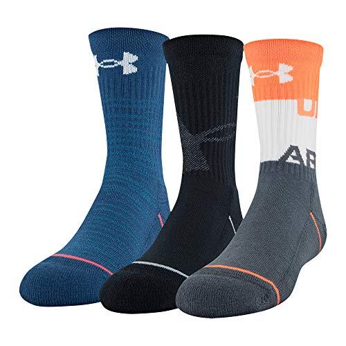 - Under Armour Phenom Crew Socks 3 Pairs, Orange Glitch Assorted, Youth Large