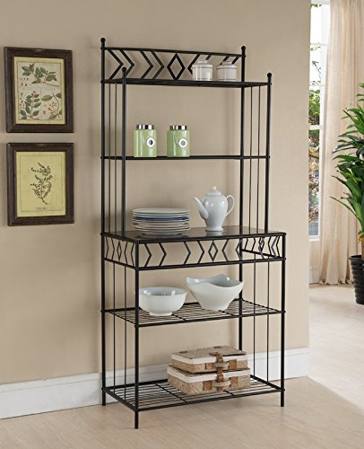 Liquid Pack Solutions Baker's Rack Made of Metal and Marble Veneer in Black and Marble Contemporary Style The Geometric Details Created with the Metal Bars Add Artful Appeal to This Subtle Piece