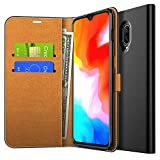 OnePlus 6T Case, Yocktec Ultra Slim Premium PU Leather Flip Wallet Case with Card Pockets and Kickstand Feature Compatible with OnePlus 6T Smartphone (Black)