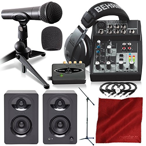 Behringer PODCASTUDIO USB Complete Podcasting Kit w/USB Audio Interface and Studio Monitors Deluxe Accessory Bundle from Photo Savings