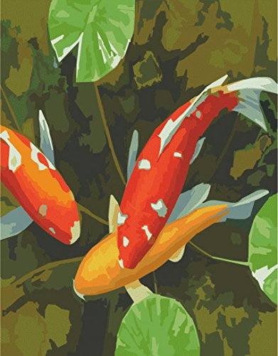 Prime Leader Wooden Framed Diy Oil Painting, Paint by Number Kit 16x20 inch Fish play between lotus leaf