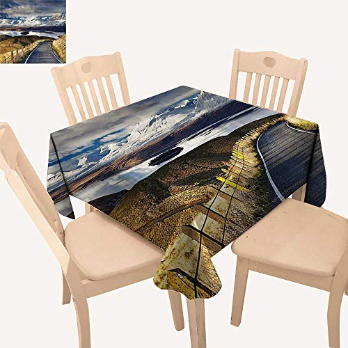 UHOO2018 100% Polyester Tablecloth Pike Road That Goes to The River and Snowy Mountain Gradient Color Sky Square/Rectangle Multicolor,50x 50inch