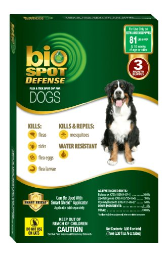 BioSpot Defense Flea and Tick Spot with Smart Shield Applicator Refill for Dogs 81-Pounds and Above, My Pet Supplies