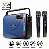 30W PA system, MAONO Bluetooth Karaoke Machine with Two Wireless Handheld Microphones for Christmas Adults Kids FM Radio (Blue)