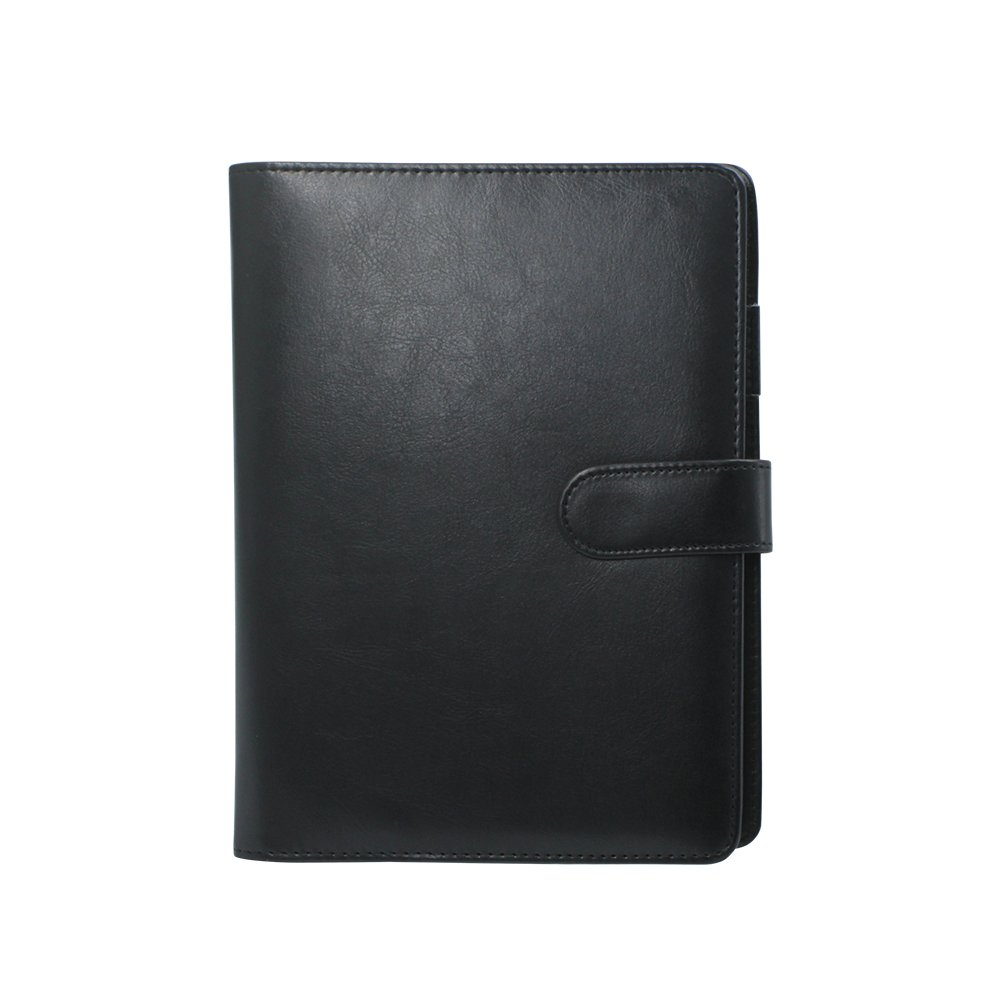 Gunsamg Classic A5 Notebook Folio PU Leather Refillable Loose Leaf Business Portfolio Executive Conference Folder Travel Portfolio 95 Pages