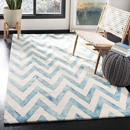 Safavieh Dip Dye Collection DDY715H Handmade Ivory and Turquoise Wool Area Rug, 8 feet by 10 feet (8' x 10')