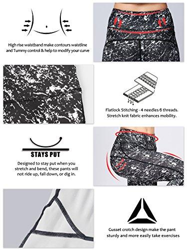 2d85a3d7f2 MUMUWU Women Yoga Pants High Waist Sport Workout Running Power Flex Yoga  Leggings Printed Black Pattern