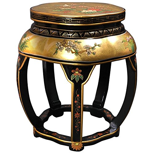 Oriental Furniture Lacquer Blossom Stool - Gold (Art Hand Lacquer Painted)