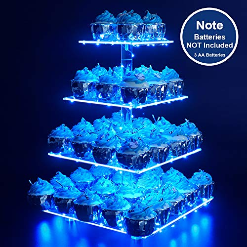 Cupcake Party Plates (Cupcake Stand - Premium Cupcake Holder - Acrylic Cupcake Tower Display - Cady Bar Party Décor - 4 Tier Acrylic Display for Pastry + LED Light String - Ideal for)