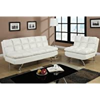 2 pc Cream faux leather upholstered futon sofa bed and chair with chrome legs