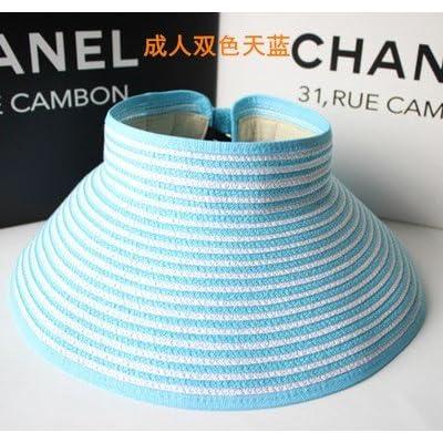 À l'été, chapeaux de plage sports loisirs plein air chapeau pliable mode chapeau de soleil, adulte, blanc et bleu ciel