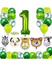 1. Verjaardag dieren thema set YUTOU eerste verjaardag jongen Happy Birthday slinger ballon 1 decoratie verjaardagsdecoratie jongen 1 jaar groen voor jongens meisjes kleuterschool safari party decoratie