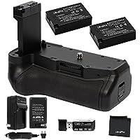 Battery Grip Bundle F/ Canon Rebel T7i, EOS 77D: Includes Replacement Grip, 2-Pk LP-E17 Long-Life Batteries, Charger, UltraPro Accessory Bundle