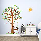 Decowall DM-1401 5 Little Monkeys Tree Kids Wall Decals Wall Stickers Peel and Stick Removable Wall Stickers for Kids Nursery Bedroom Living Room