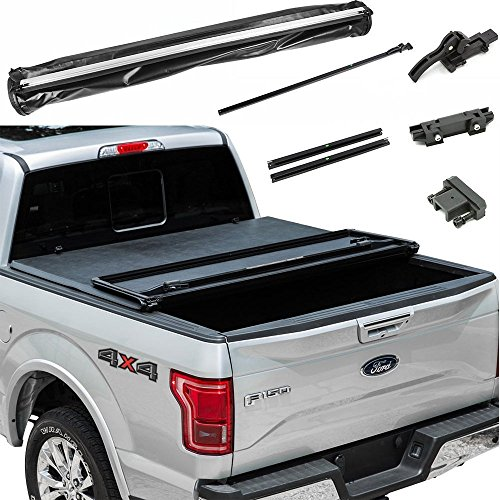FIB Auto Soft Tonneau Cover Assembly Lock & Tri-Fold 1994-2003 Chevy S10 Extended Cab Fleetside 6 Feet (72in) Bed ()