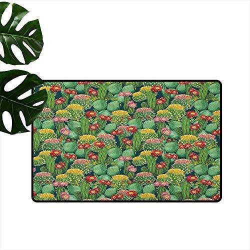 RenteriaDecor Nature,Carpets Doormat Garden Flowers Cactus Texas Desert Botanical Various Plants with Spikes Pattern 18