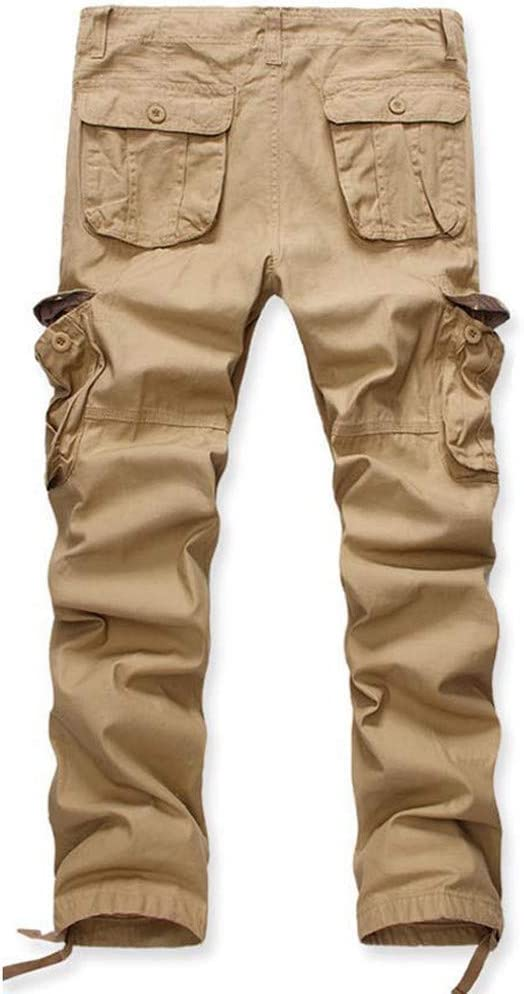 Cargo Pants Men Forthery Mens Casual Pleated Zipper Multi Pockets Tactical Work Camo Mid Waist Solid Loose Long Pants