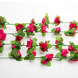 CloverStar Artificial Rose Vine silk flower garland fake ivy for Wedding Party Home Champagne, Pink, Hot Pink Light Green 57
