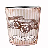 Trash Can, Hmane British Style Trash Bin Household Uncovered Garbage Can Decoration(Retro Car Pattern) - Pattern-10