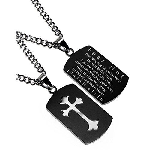 Christian Dog Tag, Fear Not, Bible Verse, Stainless Steel Curb Chain, Black Pendant (20)