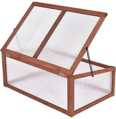 K&A Company Wooden Cold Frame Raised Greenhouse Garden Outdoor Plants Seeding Brown Portable by K&A Company