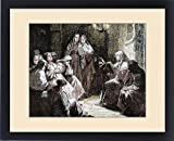 Framed Print of Cloistered nuns. Gospel reading. 19th-century colored engraving