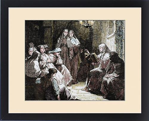 Framed Print of Cloistered nuns. Gospel reading. 19th-century colored engraving by Fine Art Storehouse