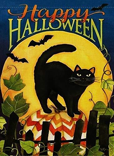 Dyrenson Home Decorative Happy Halloween Garden Flag Black