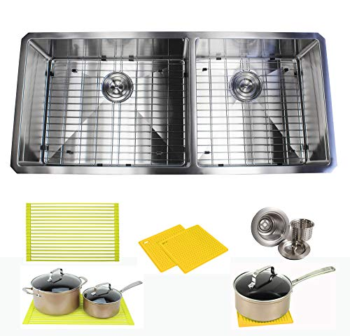 Premium 42 Inch Stainless Steel Super Sized Kitchen Sink Package - 16 Gauge Undermount Double Bowl Basin - Complete Sink Pack + Bonus Kitchen Accessories - Ideal For Home Kitchen Renovation ()
