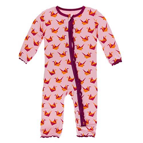 Kickee Pants Little Girls Print Muffin Ruffle Coverall Zipper - Lotus Origami Crane, 3-6 Months ()