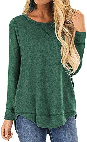 Women's Soft Tops Long Sleeve Crew Neck Casual Loose T-Shirts Blouse Tunic Top S-XXL