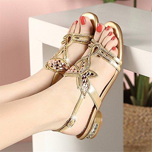 Gold Señoras con Tamaño EU Imitación Piel Elegantes de Las 40 de Diamantes Cordones de Cuero Sandalias Planas Decorados Color de TaxYW6wq