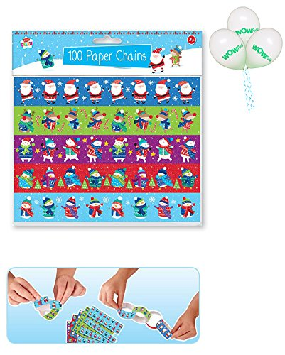 Wow Party WOW Christmas 100 Paper Chains with Pack of 3 Balloons