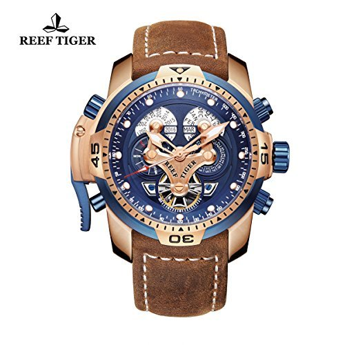 Reef Tiger Men's Military Watches Rose Gold Tone Complicated Blue Dial Watch Automatic Sport Watches RGA3503 (RGA3503-PLSG)