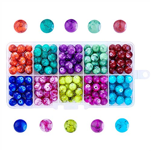 Pandahall About 240pcs/box Drawbench Glass Round Beads 10 Colors 8mm Spacer Loose Beads for DIY Jewelry Making ()