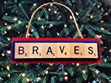 Atlanta Braves Scrabble Tiles Christma Ornament Handmade Holidays Wood Baseball