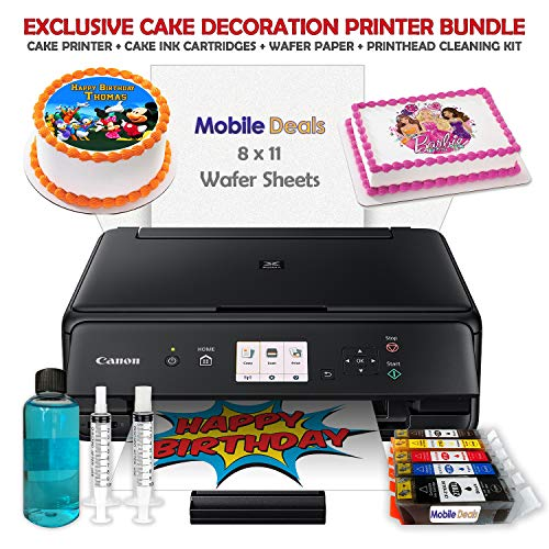 Mobile Deals Tasty Treats and Birthday Cake Topper Image Printer Bundle - Includes Canon Wireless Printer, Cake Ink Cartridges, Wafer Paper and Print-Head Cleaning Kit