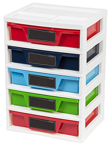 IRIS USA, Inc. 5 Drawer Storage & Organizer Chest, Assorted Colors Primary
