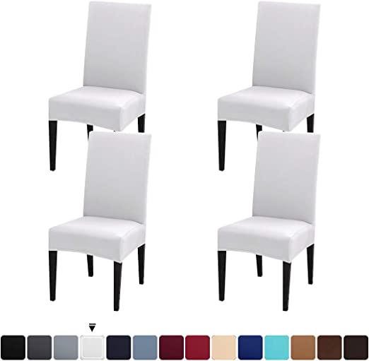 Pack of 1, Coffee JQinHome Dining Chair Slipcover,High Stretch Removable Washable Chair Seat Protector Cover for Home Party Hotel Wedding Ceremony